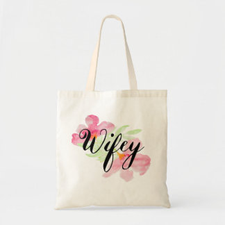Adorable Watercolor Wifey Graphic Budget Tote Bag