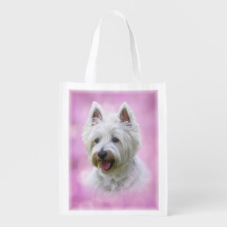Adorable west highland white terrier grocery bag