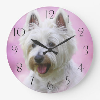 Adorable west highland white terrier large clock