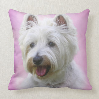 Adorable west highland white terrier throw pillow