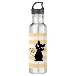 Adorable  Whimsical Black Cat on Stripes 710 Ml Water Bottle