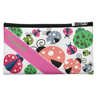 Adorable Whimsical Cute Colorful Ladybugs Cosmetic Bags