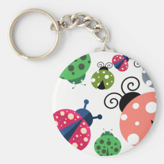 Adorable Whimsical Cute Colorful Ladybugs Keychain