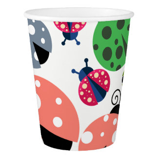 Adorable Whimsical Cute Colorful Ladybugs Paper Cup