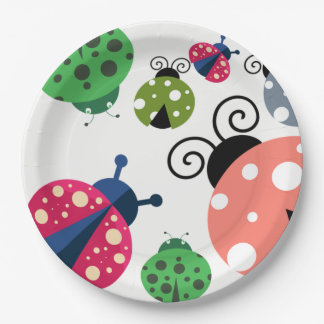 Adorable Whimsical Cute Colorful Ladybugs Paper Plate