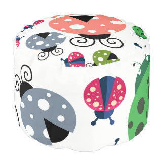 Adorable Whimsical Cute Colorful Ladybugs Pouf