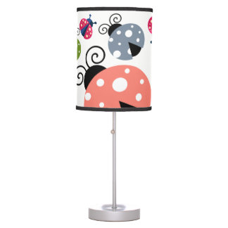 Adorable Whimsical Cute Colorful Ladybugs Table Lamp