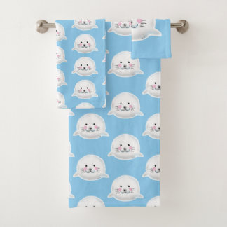 adorable white baby seal bath towel set