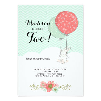 Adorable White Bunny with Balloons Birthday Party Card