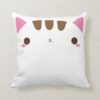 Adorable White Cat Throw Pillow