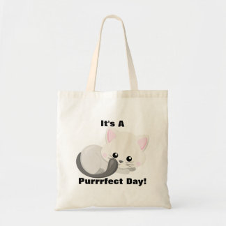 """Adorable White Kitten """"It's A Purrrfect Day"""" Tote Bag"""