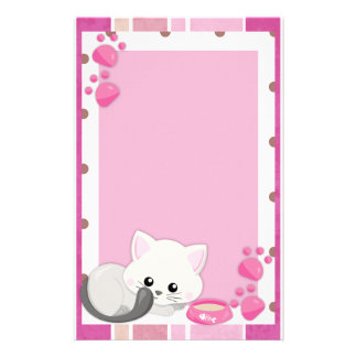 Adorable White Kitten Stationery