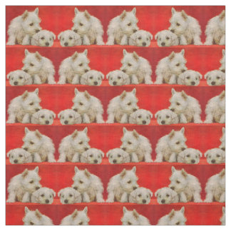 adorable white terrier puppies print fabric