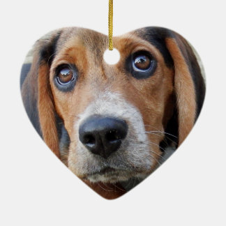 Adorable Wide Eyed Beagle Puppy Heart Shaped Ceramic Ornament