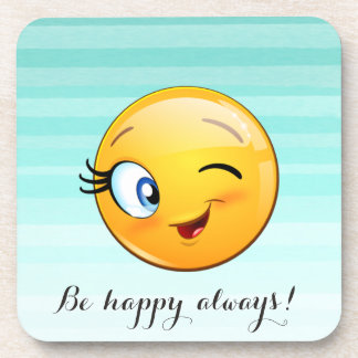 Adorable Winking Smiley Emoji Face-Be happy always Beverage Coaster