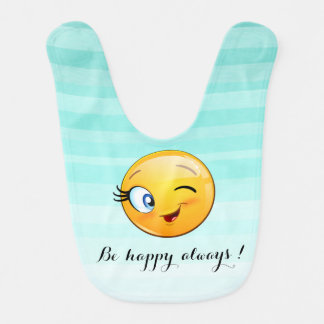 Adorable Winking Smiley Emoji Face-Be happy always Bib