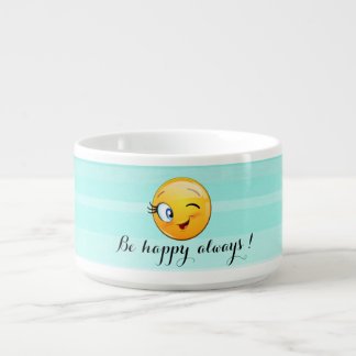 Adorable Winking Smiley Emoji Face-Be happy always Bowl