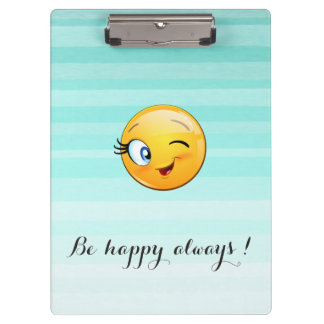 Adorable Winking Smiley Emoji Face-Be happy always Clipboard
