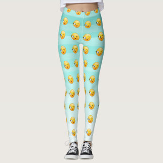 Adorable Winking Smiley Emoji Face-Be happy always Leggings