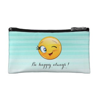 Adorable Winking Smiley Emoji Face-Be happy always Makeup Bag