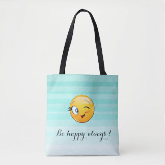 Adorable Winking Smiley Emoji Face-Be happy always Tote Bag