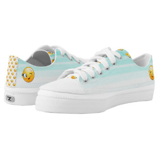 Adorable Winking Smiley Emoji Face Low-Top Sneakers