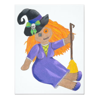 Adorable witch doll Halloween party invitations