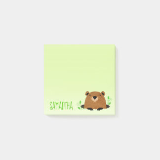 Adorable Woodland Groundhog Drawing Post-it Notes