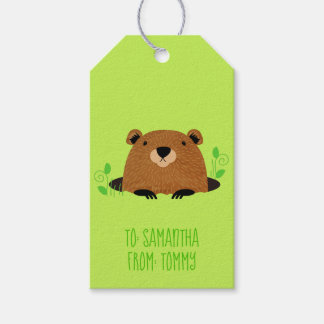 Adorable Woodland Groundhog Pattern Gift Tags