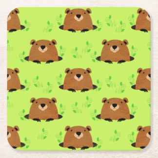 Adorable Woodland Groundhog Pattern Square Paper Coaster
