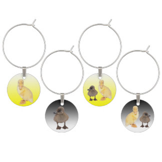 Adorable Yellow and Gray Duckling Photographs Wine Charm