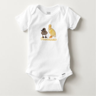 Adorable Yellow and Gray Ducklings Photograph Baby Onesie
