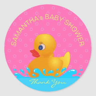 Adorable Yellow Blue Pink Rubber Ducky Baby Shower Round Sticker