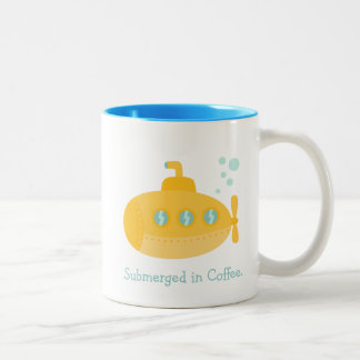 Adorable Yellow Submarine Submerged Underwater Two-Tone Coffee Mug