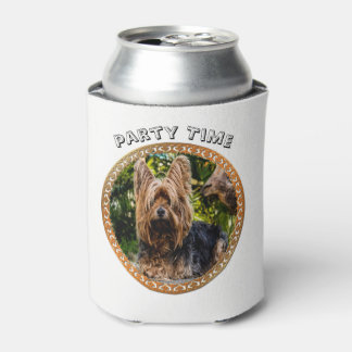 Adorable Yorkshire brown and black terrier Can Cooler