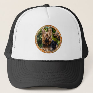 Adorable Yorkshire brown and black terrier Trucker Hat