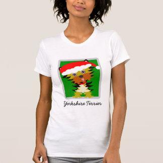 Adorable Yorkshire Terrier Cartoon Christmas T-Shirt