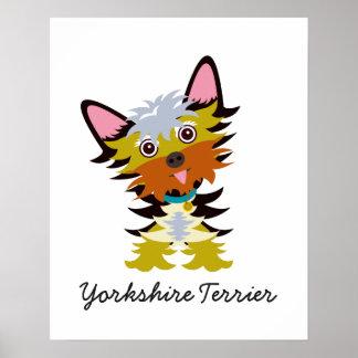 Adorable Yorkshire Terrier Cartoon Poster