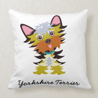 Adorable Yorkshire Terrier Cartoon Throw Pillow