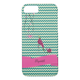 Adorable Zigzag,Chevron Floral High Heels -Name iPhone 8/7 Case