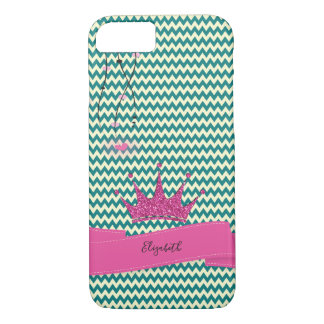 Adorable Zigzag,Chevron Glitter Tiara -Personalize Case-Mate iPhone Case