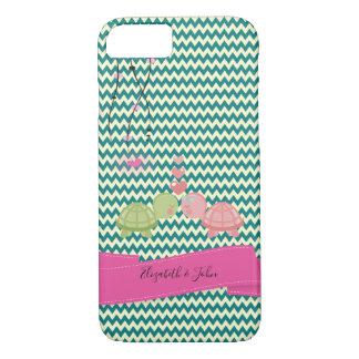 Adorable Zigzag,Chevron Turtle In Love-Personalize Case-Mate iPhone Case
