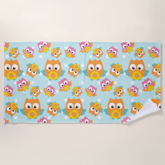 Adorably Cute Orange and Pink Owl Pattern Beach Towel