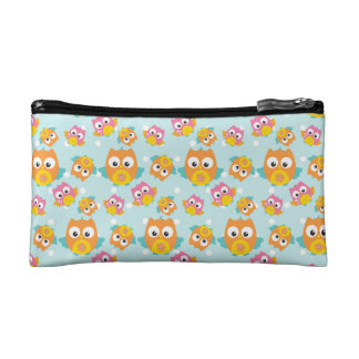 Adorably Cute Orange and Pink Owl Pattern Makeup Bag