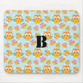 Adorably Cute Orange and Pink Owl Pattern Mouse Pad