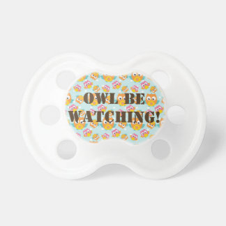 Adorably Cute Orange and Pink Owl Pattern Pacifier