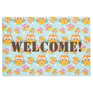 Adorably Cute Orange and Pink Owl Pattern Print Doormat