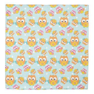 Adorably Cute Orange and Pink Owl Pattern Print Duvet Cover