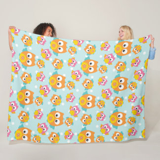 Adorably Cute Orange and Pink Owl Pattern Print Fleece Blanket