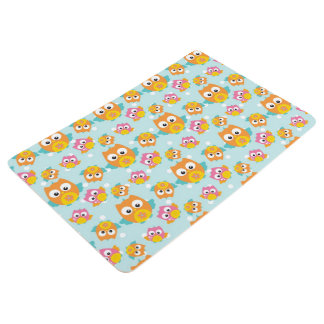 Adorably Cute Orange and Pink Owl Pattern Print Floor Mat